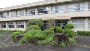 いろいろ撮影できる学校スタジオの正面入り口前の植え込み・雑草駆除
