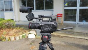 いろいろ撮影できる学校スタジオ・ミュージックビデオ撮影のカメラ・ソニーFS7・・レンズはキャノン
