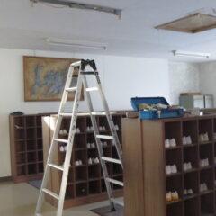 学校スタジオ・昇降口・蛍光灯・LED型の蛍光灯に交換・バイパス工事