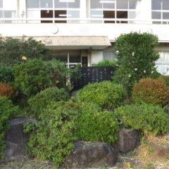 まるごと撮影で使える学校スタジオ・正面玄関前・植木・校歌石碑・雑草駆除・メンテナンス